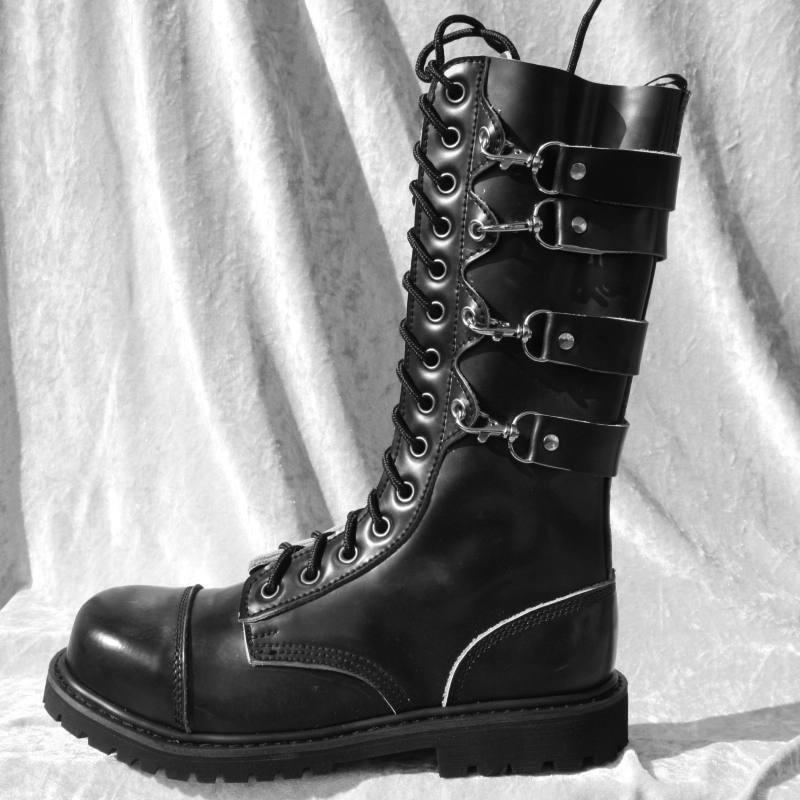 HLS Stövlar - 14 -Hole läder Gothic stövlar (Matt) med 4 -bälten och stållock