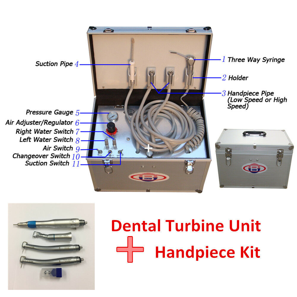 Portable Dental Turbine Unit Air Compressor Suction 3 Way Syringe 2 Changeover Switch Norton Secured Powered By Verisign