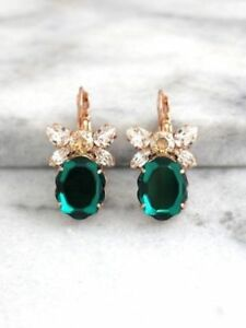 3-10Ct-Oval-Cut-Green-Emerald-Diamond-Huggie-Hoop-Earrings-14K-Rose-Gold-Finish