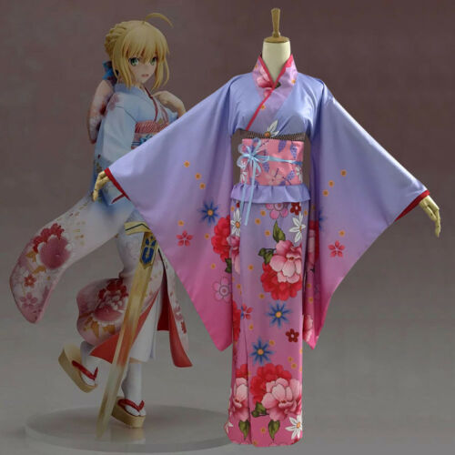 Saber Fate Grand Order Japanese Furisode Kimono Yukata Dress Set Cosplay Costume