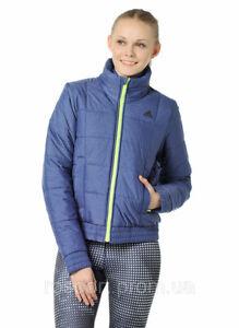 Details zu Adidas ESS Padded Jacket Damen Winter Jacke Steppjacke Parka Bomber meliert blau