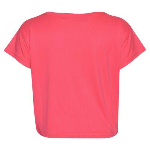 Kids Girls #Selfie Print Stylish Neon Pink Crop Top /& Fashion Legging Sets 5-13Y