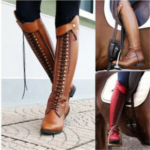 Womens Knee High Lace Up Riding Boots