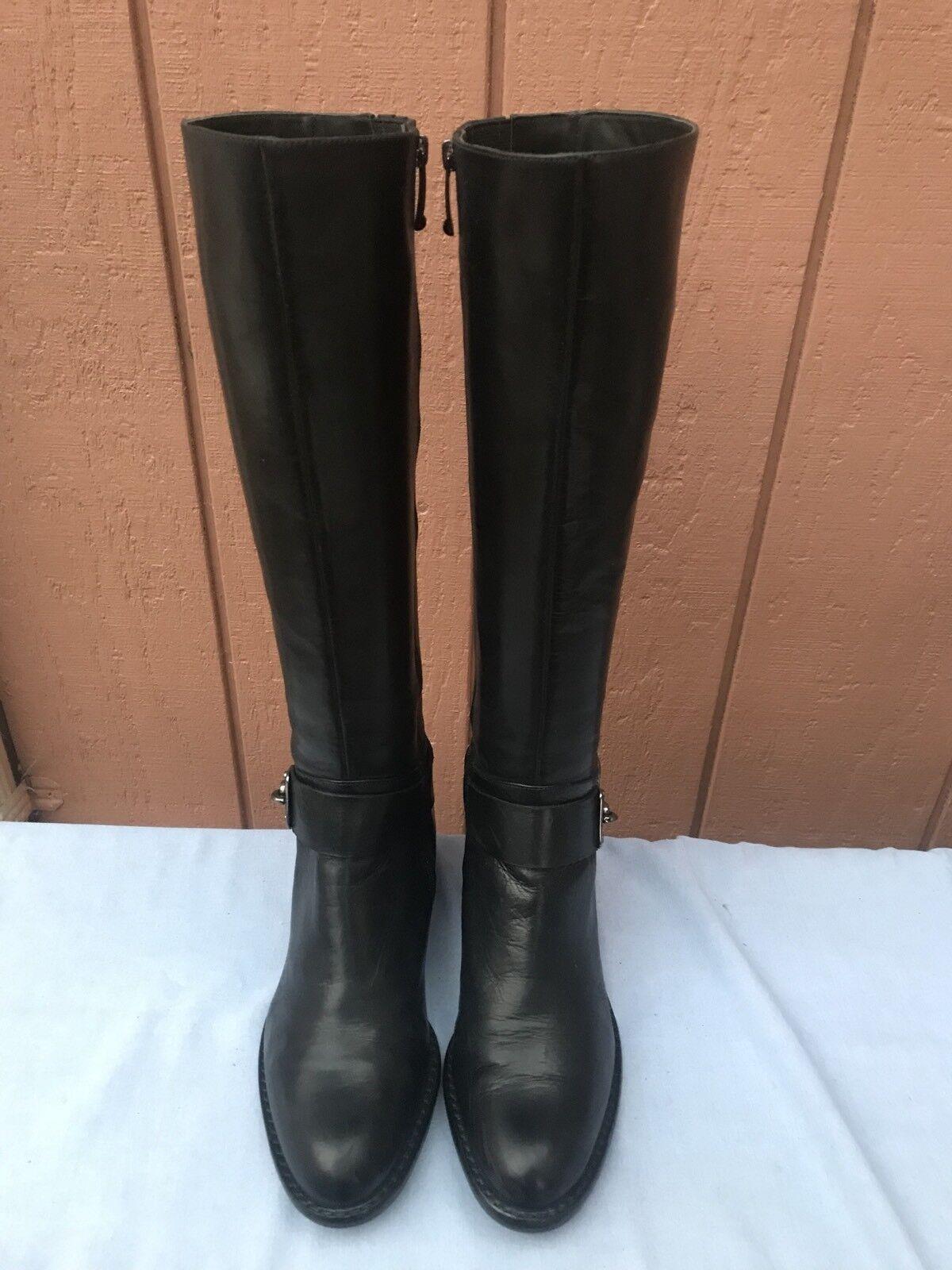 Excelente condición usada Via Spiga Kali Alto Alto Alto Rodilla Alto De Cuero Negro botas De Montar Talla EE. UU. 5M  398 c6dd29