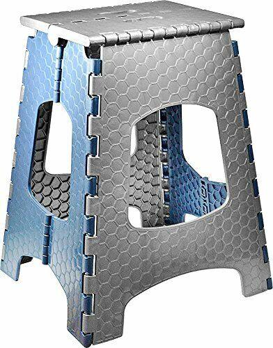 Tabouret Escabeau Marchepied Pliable 44cm Pliant Avec Poignée Supporte 120Kg FR