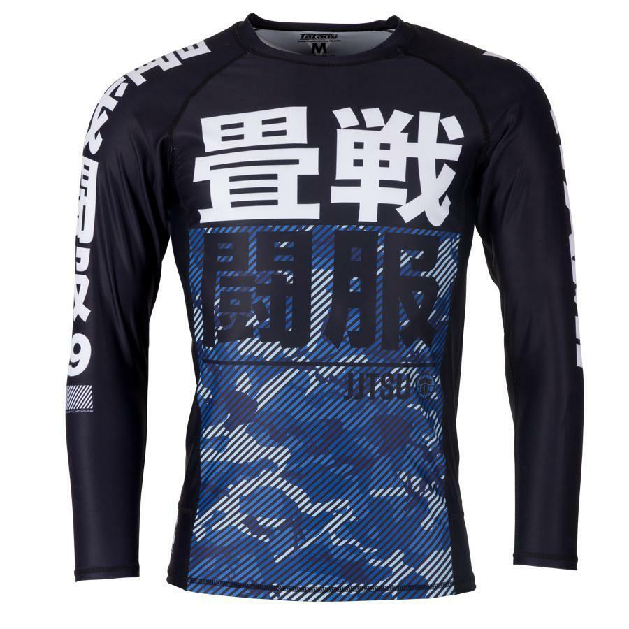Tatami Mens Essential Camo Rash Guard blueee Compression BJJ Gym Jiu Jitsu Top