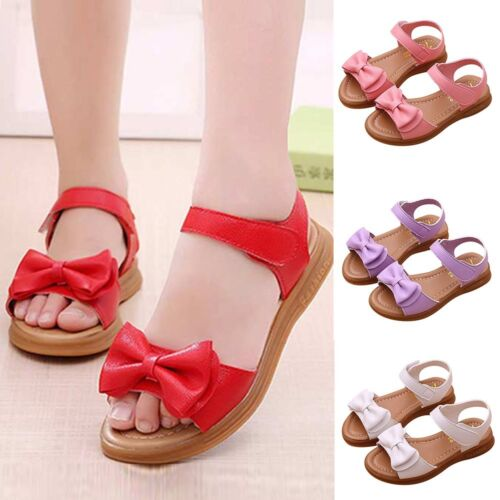 Children Kids Infant Baby Girls Bowknot Sandals Non-Slip Princess Casual Shoes
