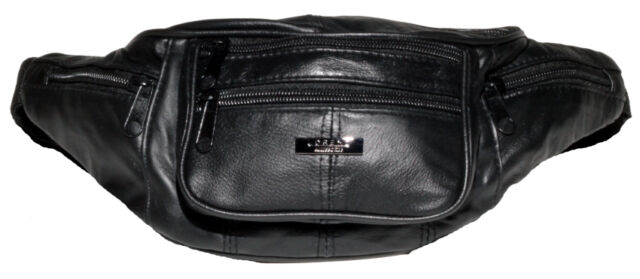 Ladies  Multiple Zip Sheep Nappa Leather Bum Bag By Lorenz,New,Tagged,Black.