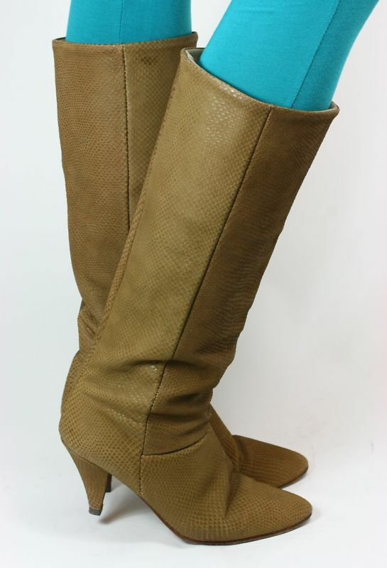 High Heel Stiefel Vintage Damenstiefel Lederstiefel Cannabis Schlange 38,5-39