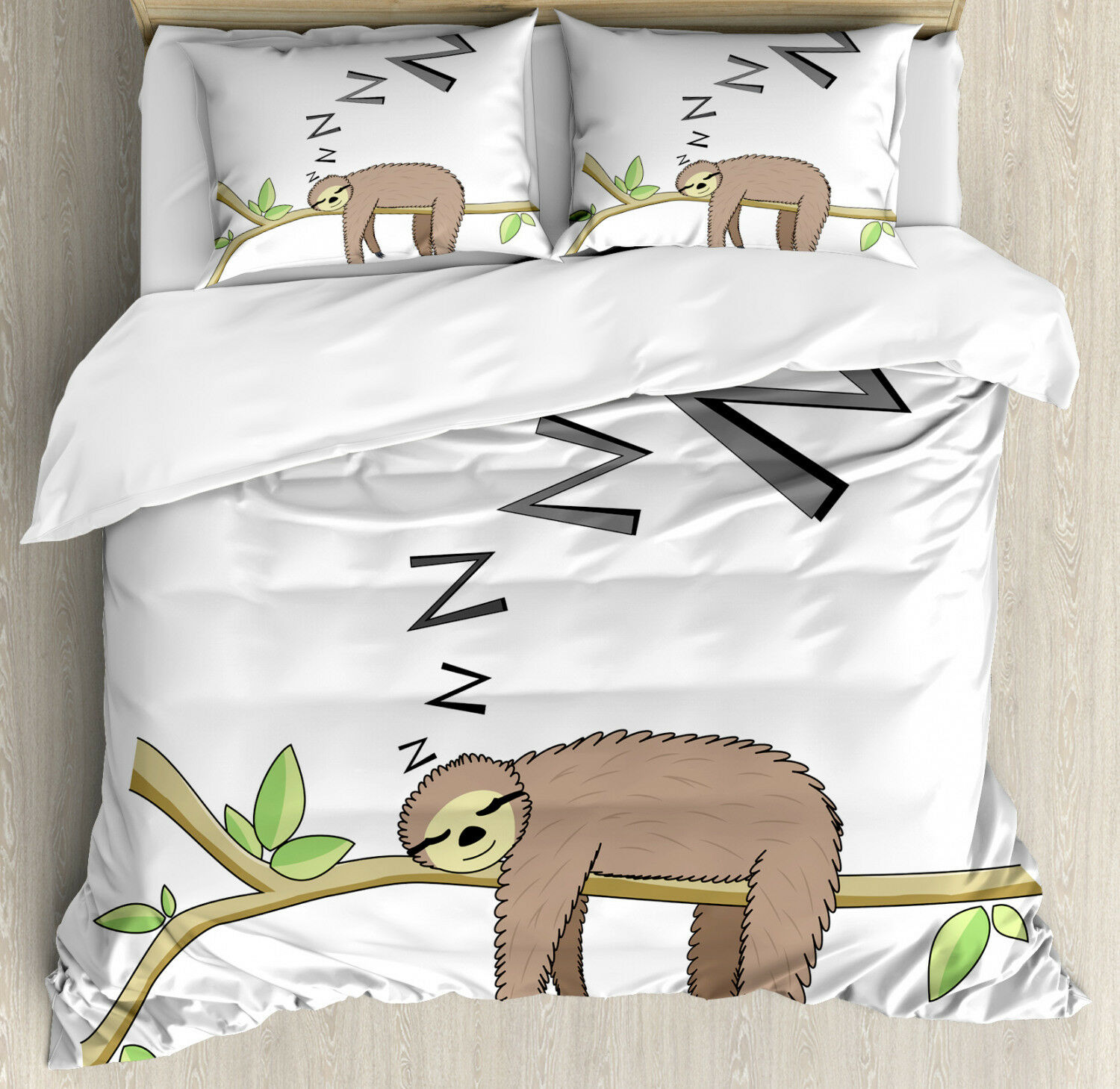 Sloth Duvet Cover Set with Pillow Shams Arboreal Mammal Sleeping Print
