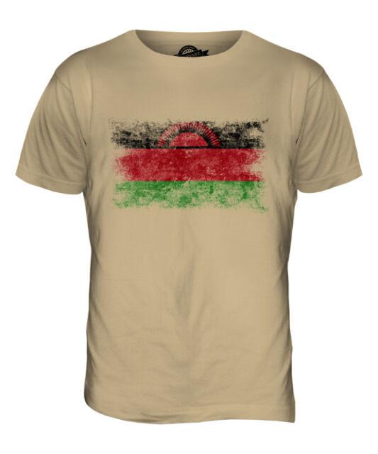 MALAWI DISTRESSED FLAG MENS T-SHIRT TOP MALAWIAN SHIRT FOOTBALL JERSEY GIFT