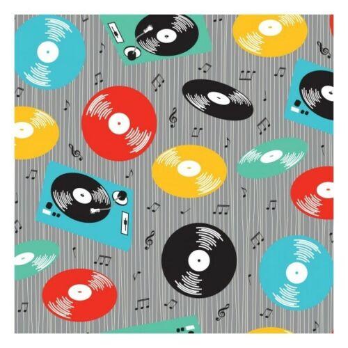 100/% Algodón Patchwork Tela Nutex Retro de registros de vinilo reproductor de música