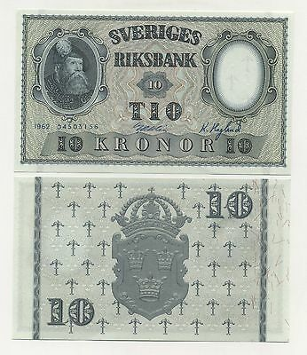 Sweden 10 Kronor 1962 P-43b About Uncirculated AU