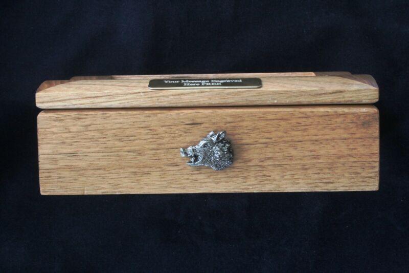 Boar Head Oak Jewellery Box 6x4 Photo Window Personalised Engraving Hunting 034