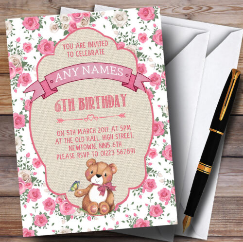 Roses Roses filles nounours pique-nique Childrens Birthday Party Invitations