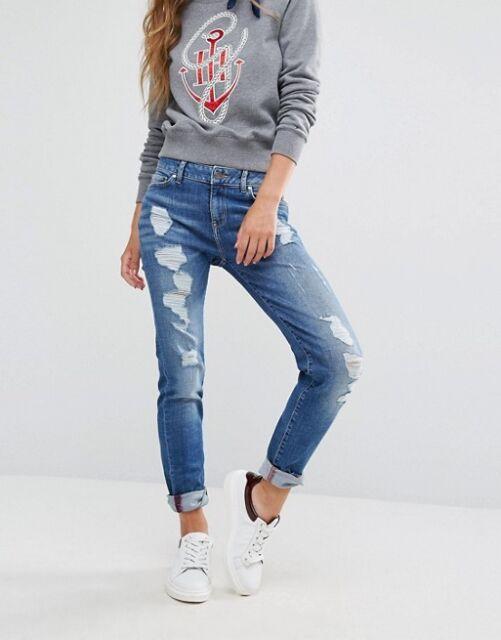 03690626 Tommy Hilfiger X Gigi Hadid Blue Distressed Skinny Jeans W31 / L34 Brand New