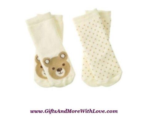 Gymboree NWT 2 pairs Ivory BEAR POLKA DOTS ORGANIC UNISEX DRESS SOCKS 3 6 12 18
