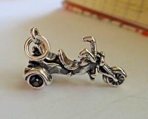 1-Sterling-Silver-3D-20x12mm-3-gram-3-Wheel-Trike-Motorcycle-Chopper-Charm