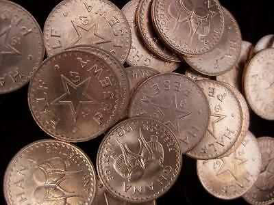 Ghana Half Pesewa 1967  BU lot of 25 coins  #39