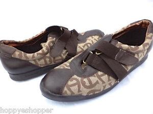 Etienne-Aigner-Giana-Women-7-5-Shoes-Flats-Zigzag-Straps-Signature-Print