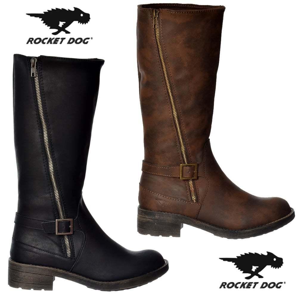 Damas Niñas Rocket Dog petrolero Knee High motociclista bota de combate negro marrón tamaño plana