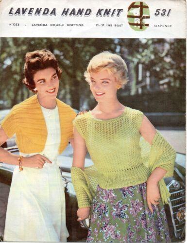 "Lavenda 531 Vintage Ladies Knitting Pattern Bolero Shawl Top DK 33-37/"" Repro"
