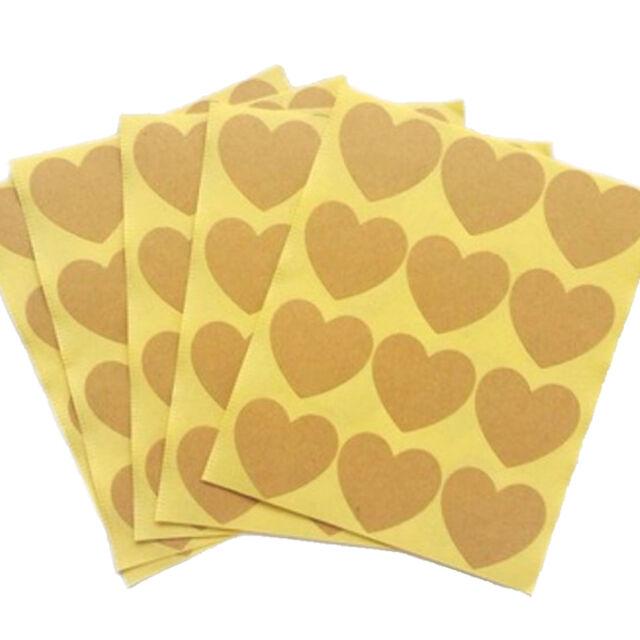 120pcs/10 sheet Heart Shape Kraft Paper Label Sticker Baking Sealing Sticker HDD