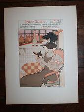 Rare lithographie Georges de Feure Art Nouveau Voeux 1897 pour Octave Uzanne