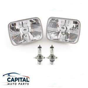 Pair Crystal Headlights Semi-Sealed Beam & Parker light 7'x5' Rectangular 70-06