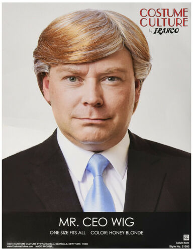 Mr Ceo Men/'S Short Honey Blonde Grey Donald Trump Costume Wig