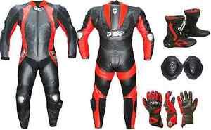 Tuta-Moto-Intera-In-Pelle-Guanti-Stivali-Professionali-Protezioni-Kit-BIESSE-039-54-034