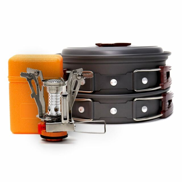 VINQLIQ Camping Campfire Cookware Set Mess Kit Camp Cooking 11Pcs with Stove