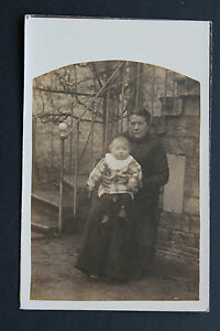 Postcard-Antique-CPA-Animated-Woman-And-Child