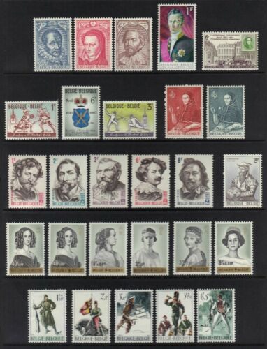 BELGIUM 195060's COLL. OF 67 MINT NEVER HINGED COMPLETE SETS INC. SEMI POSTALS
