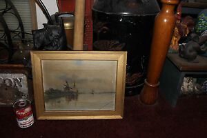 Antique-1800-039-S-Oil-Painting-On-Canvas-Nautical-Windmill-Boats-Signed-Tlottetta
