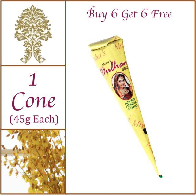 BUY 6 GET 6 FREE - JUMBO 45g Henna(Heena) Mehandi Tattoo Cone. No PPD. No Chem.