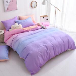 New-Gradient-Color-Bedding-Set-Duvet-Cover-Sheet-Pillow-Case-Four-Piece