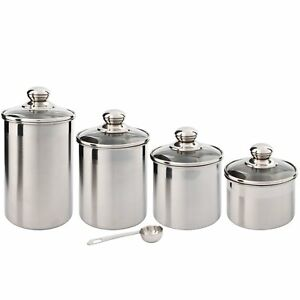 Beautiful-Canister-Set-for-Kitchen-4-Piece-Stainless-Steel-w-Airtight-Glass-Lids
