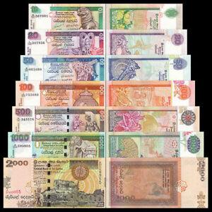 SRI LANKA BANKNOTE SET 7 PCS, 10 20 50 100 500 1000 2000 Rupees, P-115-121, UNC