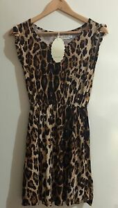 Womens-Girls-Dress-Leopard-Print-Ribbed-Swing-Tunic-Short-Sleeve-Top-Size-12