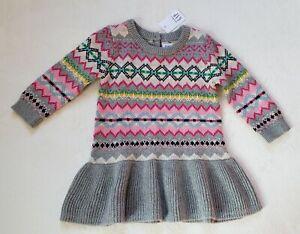 14392e291 Baby Gap Baby Girl Knit Fair Isle Spring Easter Dress 6-12 Months ...