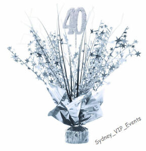 40TH BIRTHDAY PARTY SILVER SPRAY TABLE CENTREPIECE DECORATION  BALLOON WEIGHT