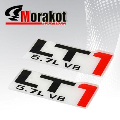2x LT1 5.7L V8 Black Red Window Auto Sticker Emblem Decal Car Logo Bumper Fender