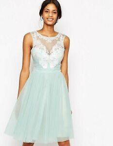 Lipsy-VIP-8-Dress-Mint-Laser-Cut-Embellished-Prom-Full-Skirt-WORN-ONCE-RRP-120