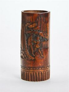 ANTIQUE-CHINESE-FIGURAL-CARVED-BAMBOO-BRUSH-POT-19TH-C