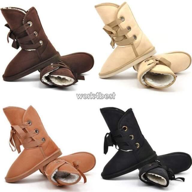 Women Warm Faux Fur Lace-up Comfort Flats Ankle Winter Snow Boots 5 Colors WST