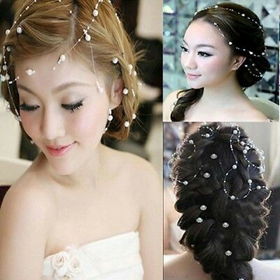 130cm  Bridal Pearl Studded Wedding Party Headpiece Tiara Headdress Hairband