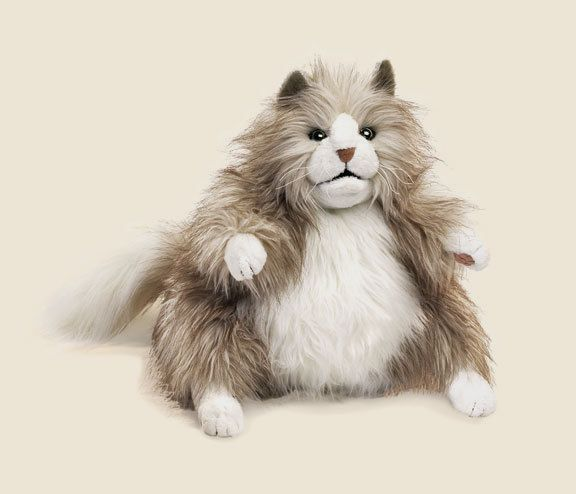 FLUFFY FAT CAT PUPPET  FREE SHIPPING to USA  Folkmanis Puppets