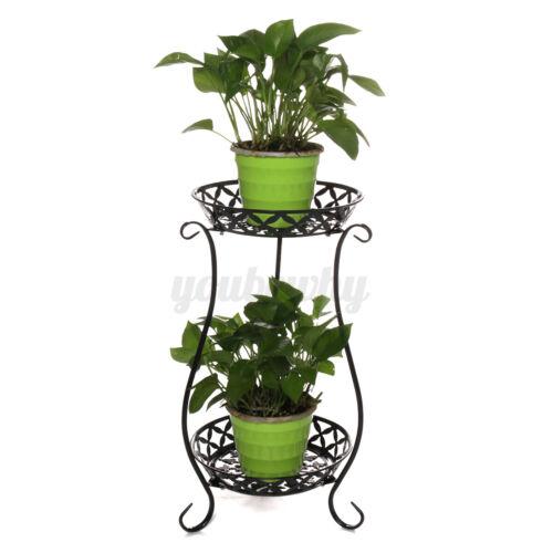 2 TIER Metal Shelves Flower Pot Plant Stand Holder Display Indoor Outdoor