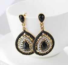 GOLD TONE FACETED BLACK BEAD & RHINESTONE CRYSTAL TEAR DROP EARRING